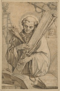 Abraham Bloemaert (Dutch, 1564 - 1651 ), Saint Bernard of Clairvaux with the Instruments of the Passion, , pen and black and brown ink, with gray and brown wash, black chalk, and graphite on laid paper, Joseph F. McCrindle Collection